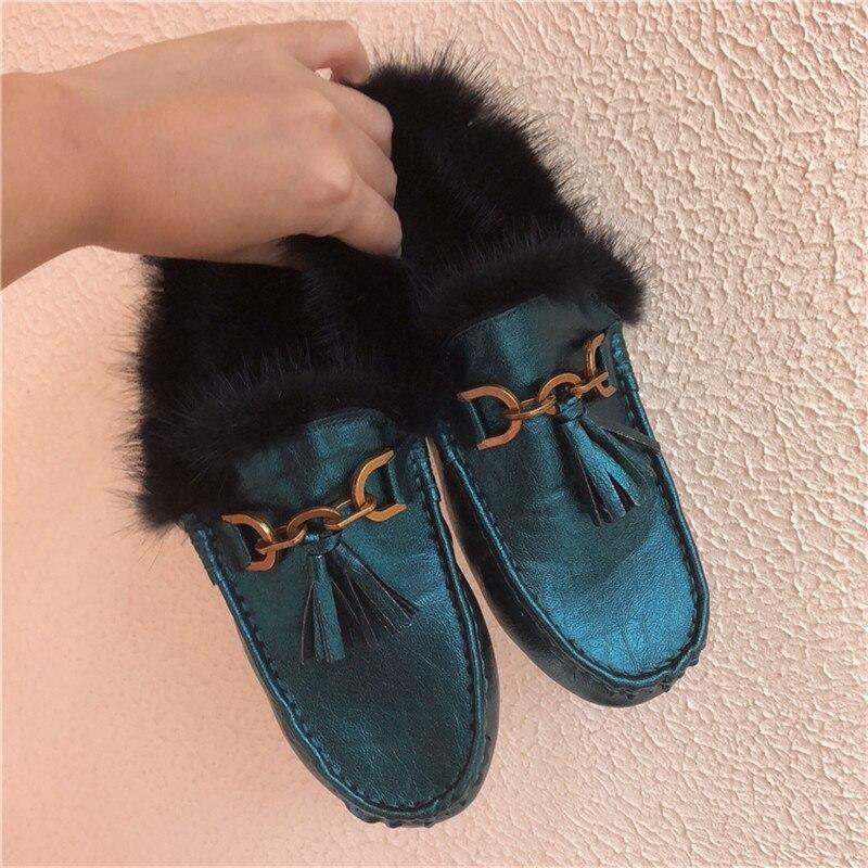 Lacets Véritable Femme Cuir Sans Femmes Carré Mocassins D'hiver Bout black Appartements tan Beige Fourrure grey Dames Chaussures En blue Ixwvqnp8zq