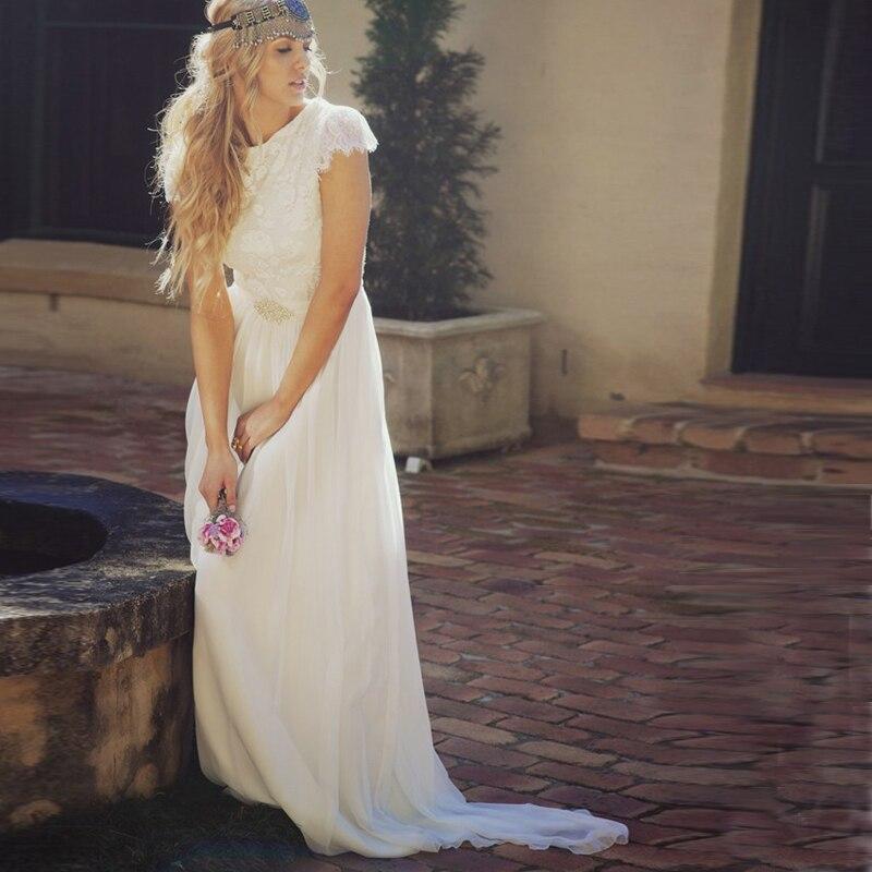 Romantic round neck cap sleeves top lace boho wedding for Best boho wedding dresses