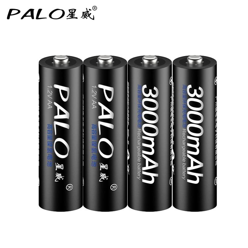 PALO 4PCS real Capacitya AA 2500mAh 1.2V 3000MAH NI MH Pre charged Rechargeable AA 1300MAH battery 3A 1100MAH AAA Baterias-in Rechargeable Batteries from Consumer Electronics