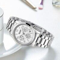 MEGIR New Fashion Chronograph Plated Classic Quartz Ladies Watch Women Crystals Wristwatches Relogio Feminino