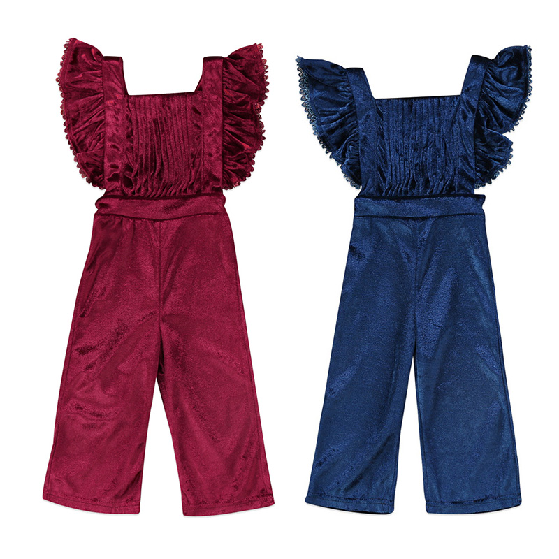 Newborn Toddler Kids Girls Velvet Romper Fashion Sleeveless Ruffles Backless Halter Jumpsuit Bib Pants Outfit Children Clothes surplice self tie halter jumpsuit