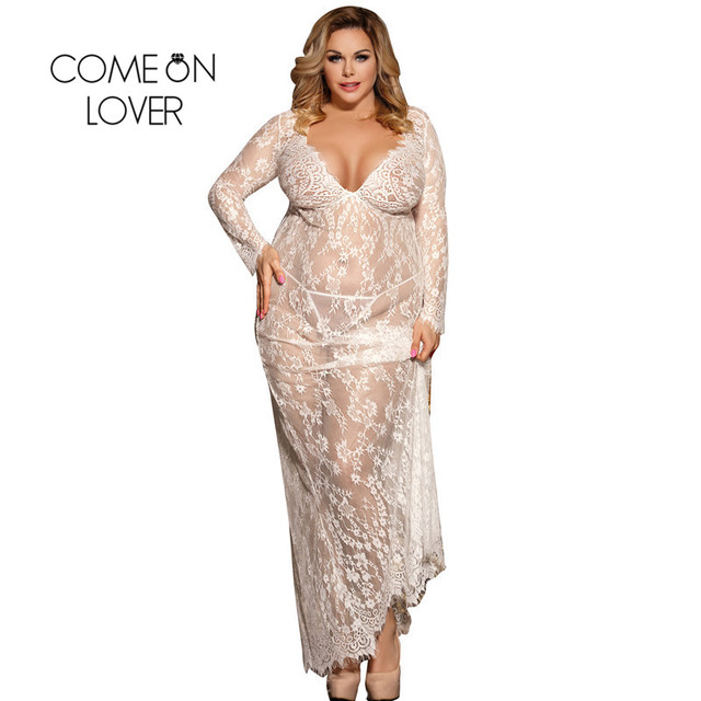 Comeonlover Plus Size Black White Long Sleepwear Lace Gown See Through Sheer Long Sleeve Lace Nightgowns Vestidos Sexys Eroticos