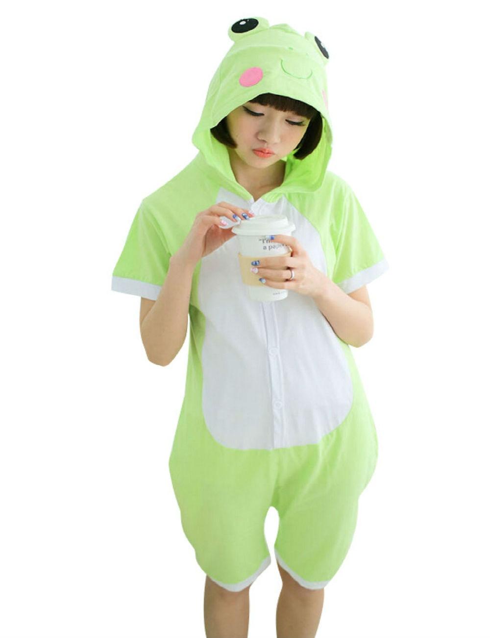 f3a88d7855fa Detail Feedback Questions about Cartoon Anime frog Cosplay Costume Summer  Jumpsuit Short Sleeve Animals frog Pajamas Pyjamas Onesie Adult Kid  Sleepwear ...