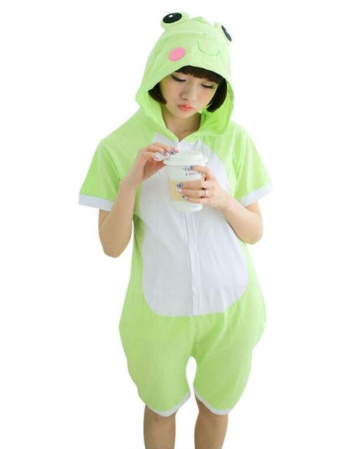 d6dba94ae2 Cartoon Anime frog Cosplay Costume Summer Jumpsuit Short Sleeve Animals  frog Pajamas Pyjamas Onesie Adult Kid Sleepwear Onesies