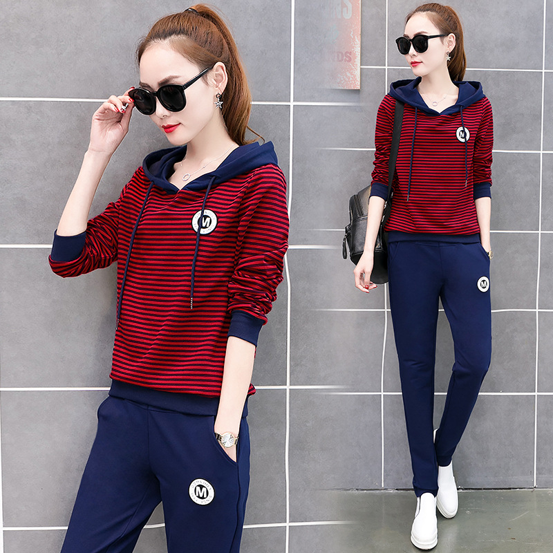 Spring Women Sportswear Tracksuit Stripe Printed Hoodies Sweatshirt+pant Running Jogger Casual Fitness Exercise Set Sport suit 51