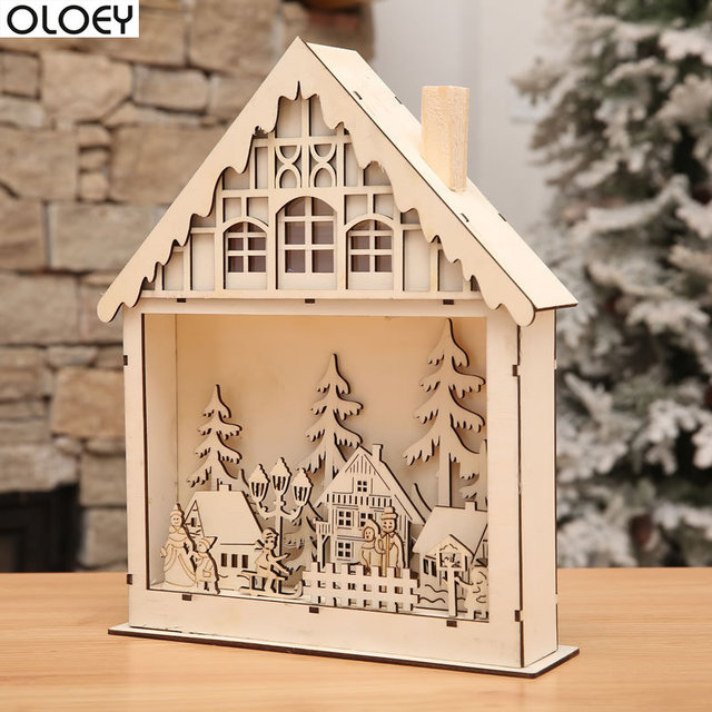Wooden Christmas Crafts.Us 16 33 Aliexpress Com Buy Christmas Ornaments Crafts Lighting Window Decoration Store Window Set Decoration Props Wooden Christmas Decorations