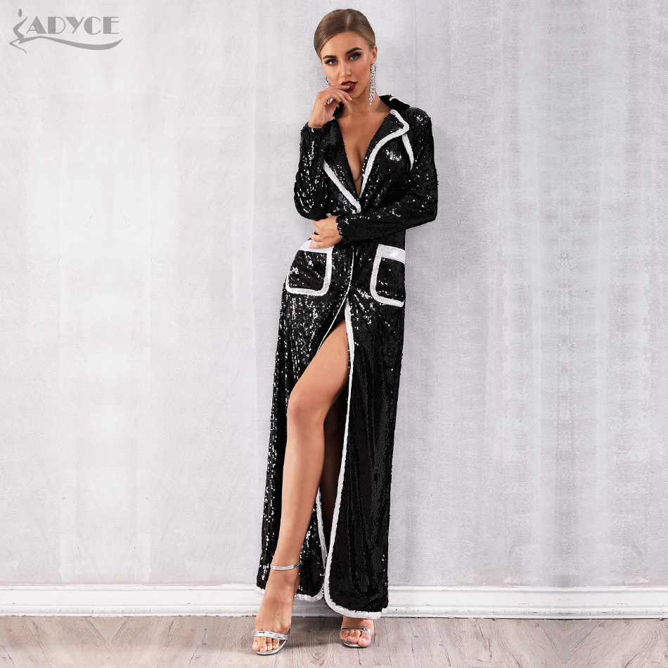 Adyce 2020 New Autumn Women Evening Party Coats Black Sequined Long Sleeve Double Breasted Deep V Club Coat Luxury Trench Coats