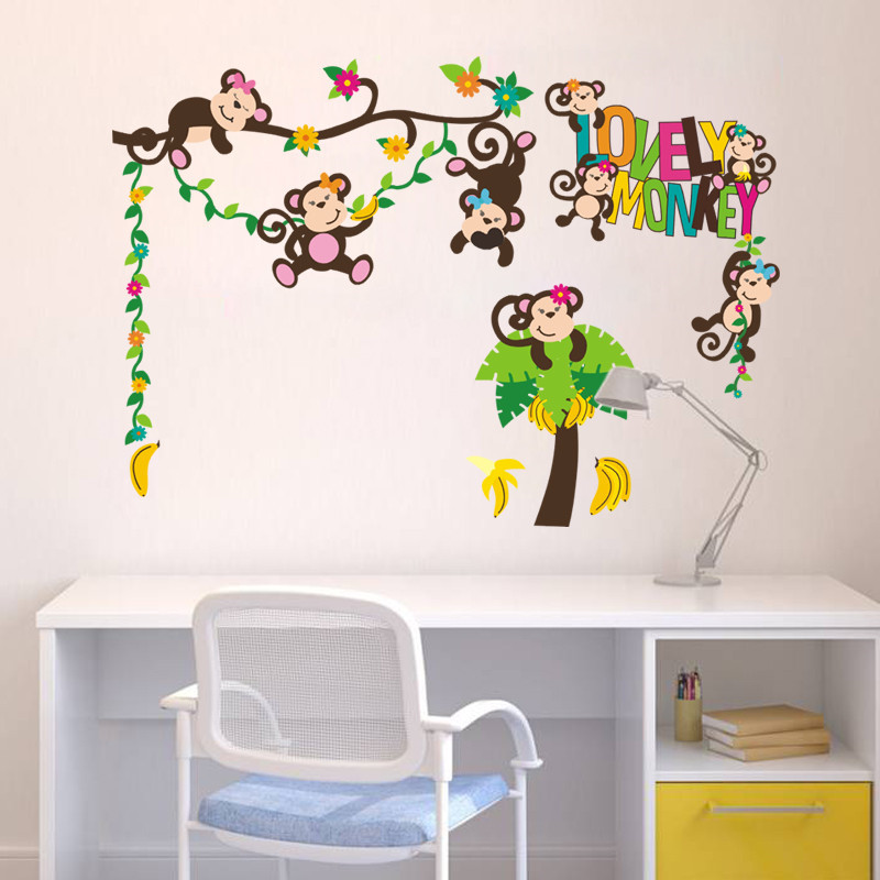 lovely monkey play on the tree home decor wall sticker for kids nursery room animal decoration Christmas gifts for baby muralart