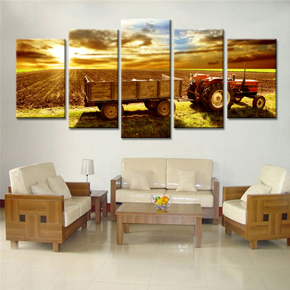 Online coloring room - 5 Pieces Drop Shipping Wall Canvas Painting For Living Room Harvester Colorful Clouds Home Decor Wall