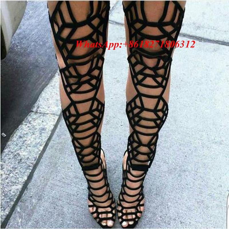 Black Leather Gladiator Sandal Boots Women High Heel Thigh High ...