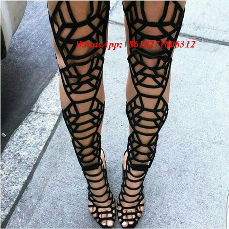 f716a9e9a6a Popular Strap Cut Out Thigh High Boots-Buy Cheap Strap Cut Out ... Black  Leather Gladiator Sandal ...