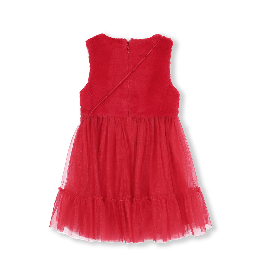 Image 3 - Balabala Girls Rabbit Fur Sleeveless Tulle Dress Cross Body Bag Children Kid Max Fabric Wedding Party Dresses LinedDresses   -