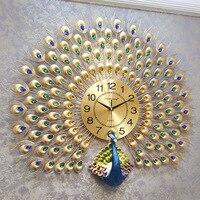 Большой кристалл павлин настенные часы настенные домашний декор настенные часы современный дизайн настенные часы свадебные украшения дро