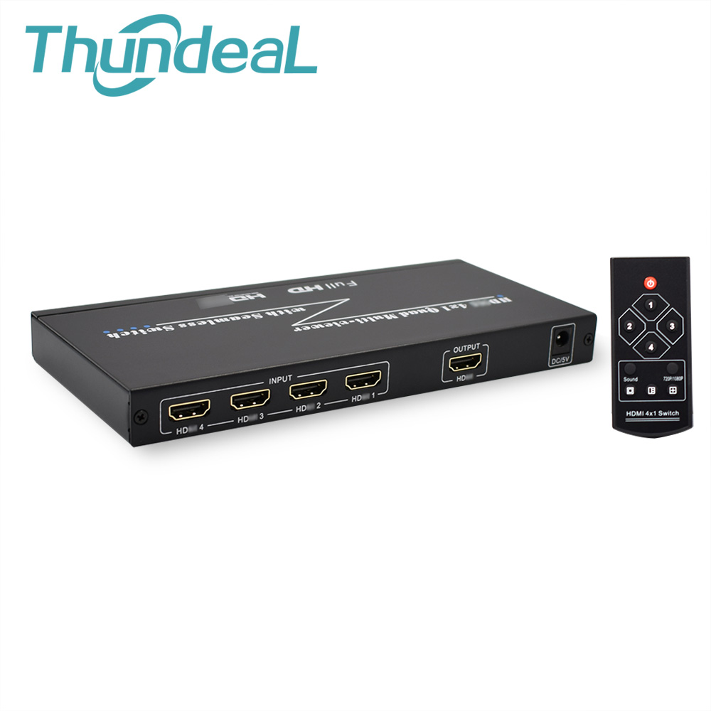 HDMI Switch 4x1 Quad Multi viewer Seamless Switcher HDMI Switcher 4 Ports with Seamless Switch IR Remote Support 1080P HDMI 1.3a full 1080p hdmi 4x1 multi viewer with hdmi switcher perfect quad screen real time drop shipping 1108