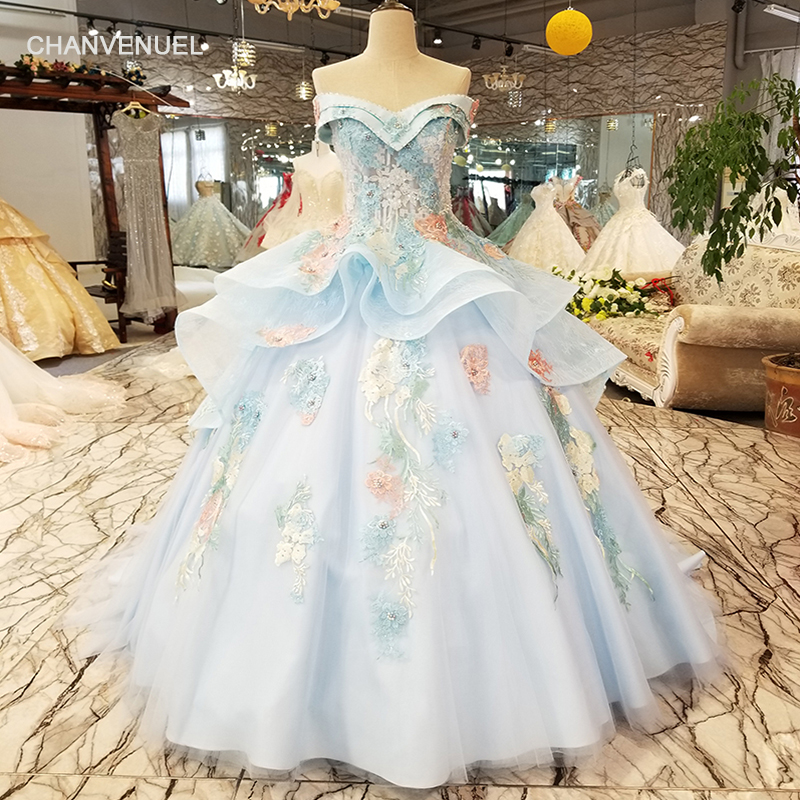 LS7115 color flowers light blue beauty evening dress off shoulder sweetheart lace up cheap party dress for sexy lovely girl
