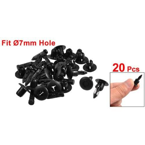 50 PCS 7mm En Plastique Vis Rivet Push Fit Panneau Garniture Clips Clips Fixations Clips Noir Pour Voiture Moto Pi/èces