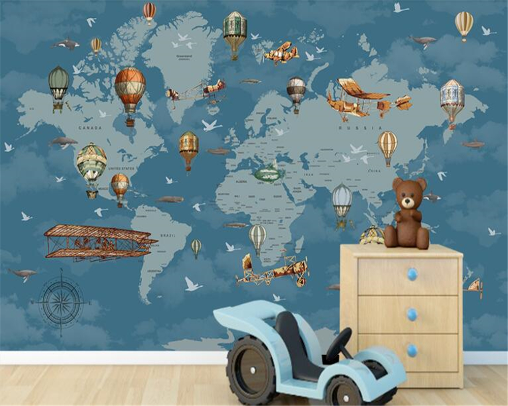 beibehang Custom wallpaper for kids room wall paper 3d silk wallpaper cartoon world map background wall wallpaper for walls 3 d bacaz small dots cartoon wallpaper roll for child kids room background wall paper rolls 3d wallcoverings