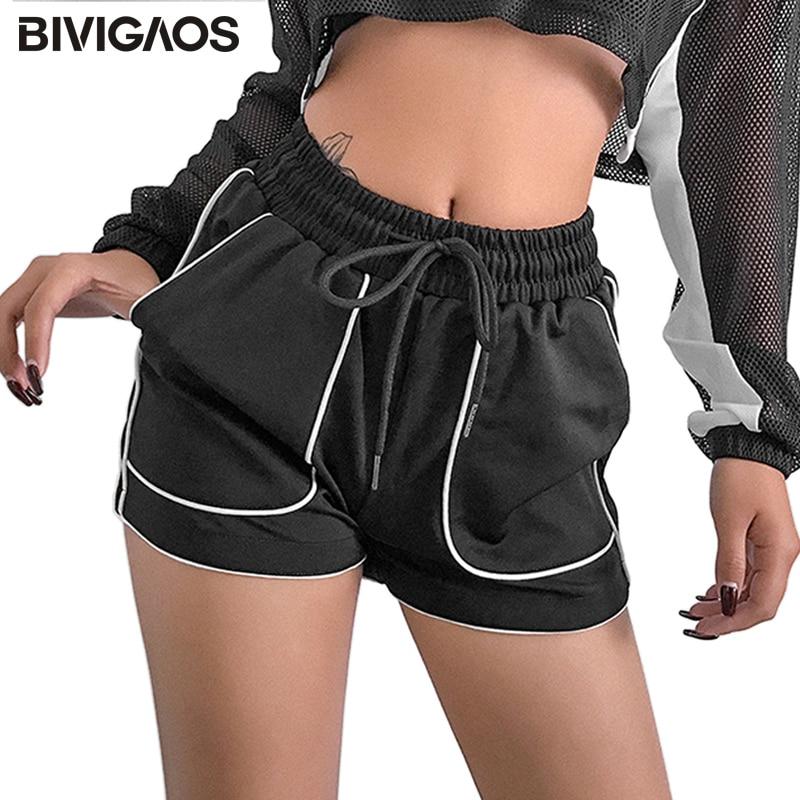 BIVIGAOS Summer New Vintage Casual   Shorts   Black Loose High Waist Wide Leg   Shorts   Hotpants White Striped Pocket Sexy   Shorts   Women