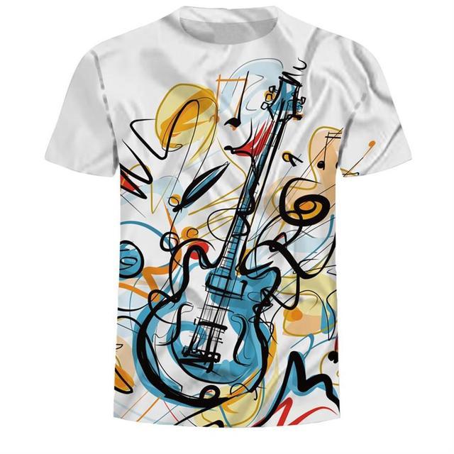 Ropa Tamaño 3xl Rock Verano Casual Hombres Estampado Mejor Festival Música Top Feliz 3d Camiseta Guitarra 2019 Pintura LGpUMqVSz