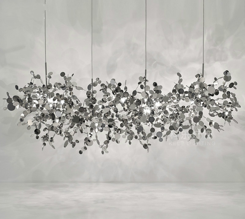 Terzani โคมระย้าเงินแสงทำจากสแตนเลส Leaf Chandelier โคมไฟสำหรับห้องนั่งเล่น/ห้องนอน Art Home DEO แสง