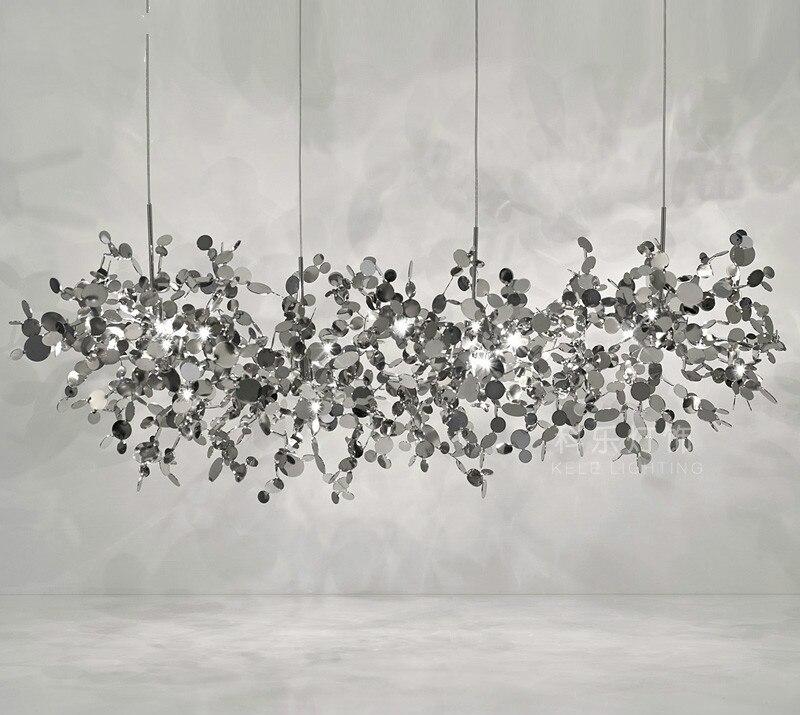 Terzani avize argent aydınlatma el yapımı paslanmaz çelik yaprak avize lamba oturma odası/yatak odası ev sanat deo aydınlatma