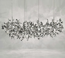 Terzaniシャンデリア銀色照明ハンドメイドステンレス鋼の葉のシャンデリアランプリビングルーム/ベッドルームの家アートdeo照明