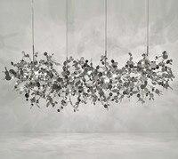 terzani chandelier argent lighting hand made stainless steel leaf chandelier lamp for living room/bedroom home art deo lighting