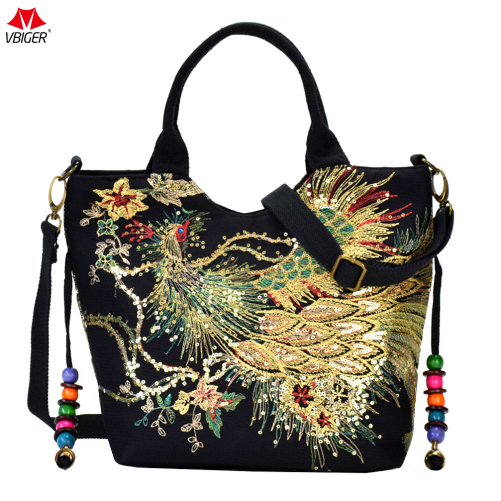 Vbiger Women Canvas Shoulder Bag Peacock Embroidery Handbag Stylish Tote Bags Casual Cross-body Bag With Decorative Pendants luxury chinese style women handbag embroidery ethnic summer fashion handmade flowers ladies tote shoulder bags cross body bags