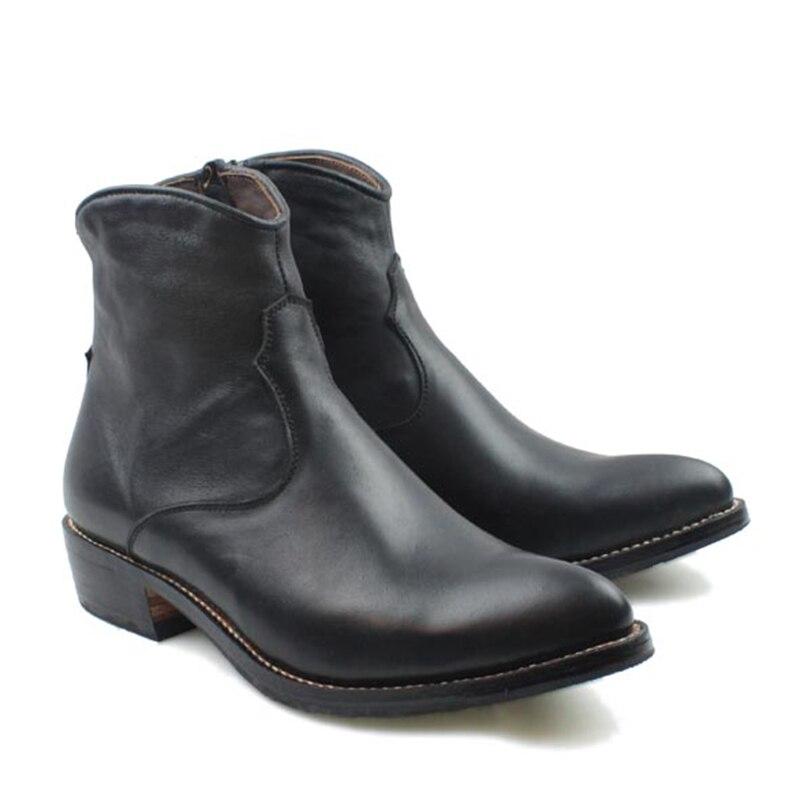 2018 Handmade Boots Men Black Cowhide Genuine Leather Short Boots Men Cowboy Military Motocycle Botas Hombre Zip, EU38-45