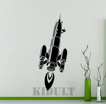 Household Items Home Decor Wall Sticker Creative Rocket Ship Shuttle Space Pattern Vinyl Wall Decal Sticker Free Shipping