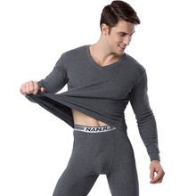 Autumn and winter thermal underwear for men 100% cotton long johns V neck mens clothing