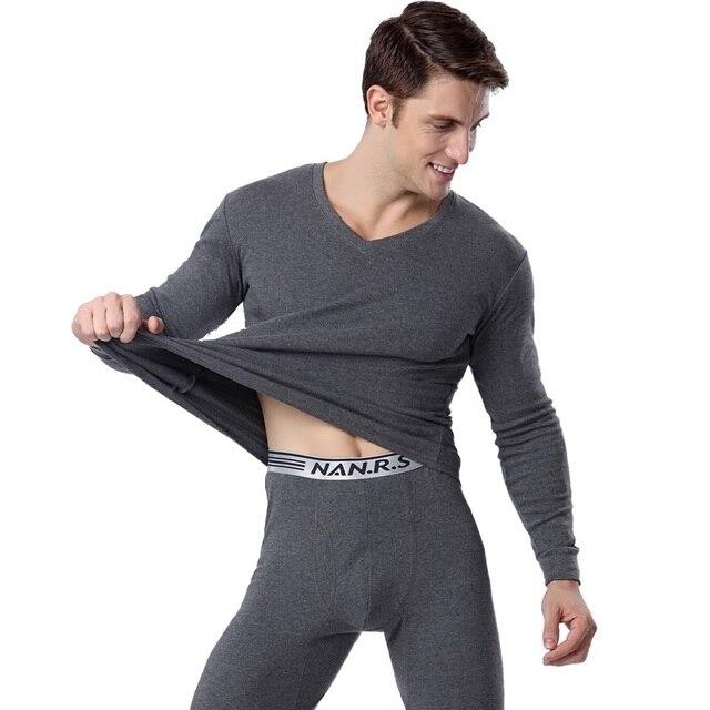 Herbst und winter thermische unterwäsche für männer 100% baumwolle lange unterhosen V ausschnitt männer kleidung