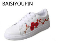 Embroidered Shoes Sport White Shoes New Spring And Summer 2017 All Match Flat Shoes Lace Up