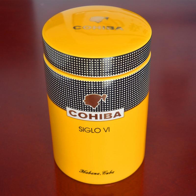 COHIBA Gadget Classic Yellow Cylindrical SIGLO VI Sheeny Porcelain Ceramic Cigar Tube Hermetic Jar MINI Humidor W/ Gfit BoxCOHIBA Gadget Classic Yellow Cylindrical SIGLO VI Sheeny Porcelain Ceramic Cigar Tube Hermetic Jar MINI Humidor W/ Gfit Box