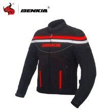 BENKIA Motocycle Jacket Spring Summer Mesh Breathable Reflective Stripe Paraschiena Moto Corsa Motorcycle Protective Gear