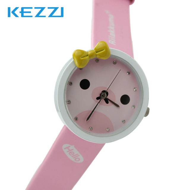 Lovely Watch Christmas Gifts for Children's Wrist Watch Analog Quartz Watches Kids Watches Cute Bear Cartoon Yellow Leather