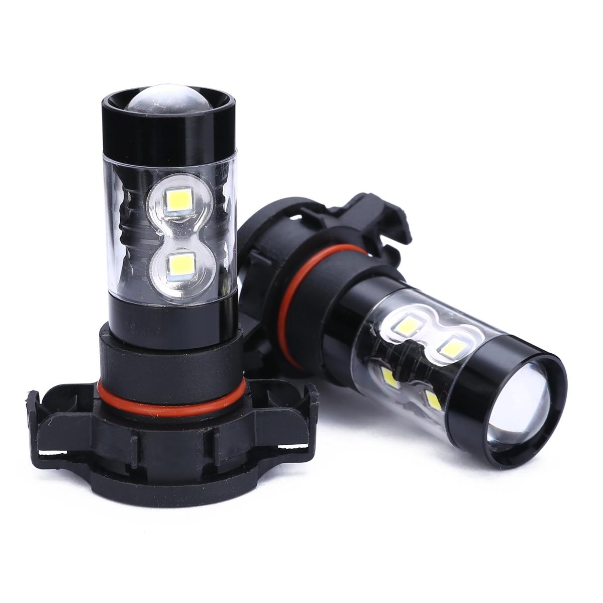 Universal 2pcs PSX24W 2504 50W Car LED Fog Light Day-time Running Bulb High Power 6000K White For Car Light Source