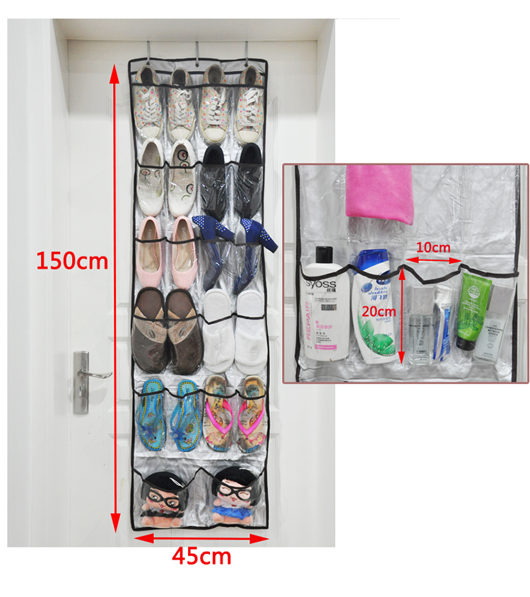 Le'sort House Keeping 22 Pockets Silver Over The Door PVC Transparent Shoes Sundries Shampoo Organizer Storage Bag