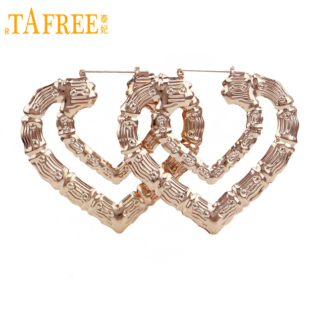 TAFREE Rose Gold/Gold Double Layers Hollow Heart Shape Bamboo Hoop ...