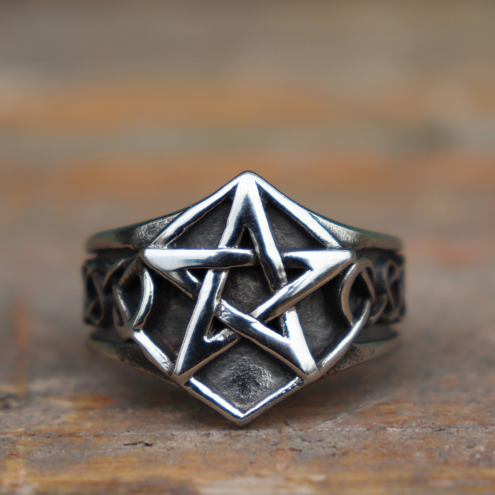 Cool Pentagram Star Men Ring 316L Stainless Steel Jewelry Engagement Anniversary Gift