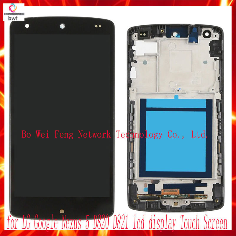 50Pcs DHL EMS High Quality Black For LG Google Nexus 5 D820 D821 LCD touch screen digitizer with frame assembly  Free shipping new lcd touch screen digitizer with frame assembly for lg google nexus 5 d820 d821 free shipping