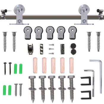LWZH Stainless Steel Sliding Barn Door Hardware Basic Track Hardware Kit T-Shaped  with Big Roller Track Roller for Interio