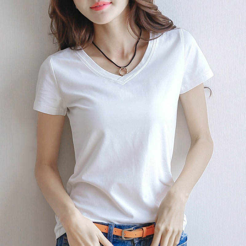 2019 Spring Summer Women Cotton T-shirt Black V-Neck Short Sleeve Female Tee Slim White T-Shirt Casual Solid Lady Tshirt Tops