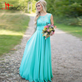 2016 Real Photo Cheap Turquoise Bridesmaid Dress Scoop Neckline Chiffon Floor Length Lace V Backless Long Maid of Honor Dress