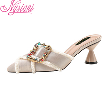 2019 Summer Sexy High Heels Pointed Toe Women Slippers Brand Designer Rhinestone Fashion Thick Sandals Shoes Girl Nysiani