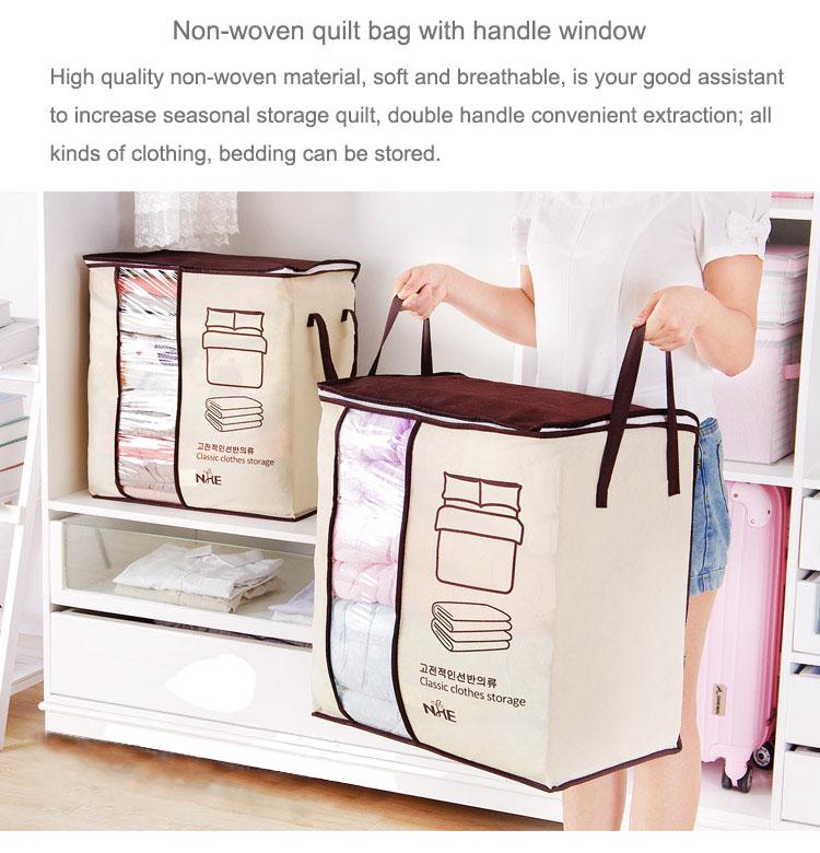 2018 new Non-woven Portable Clothes Storage Bag Organizer 45.5*51*29cm Folding Closet Organizer For Pillow Quilt Blanket Bedding 12