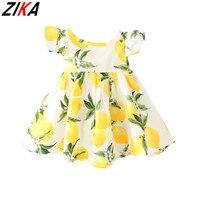 Hot Sale New 2016 Summer Girl Dress Fruit Lemon Pattern Baby Girl Dress Children Sundresses Kids