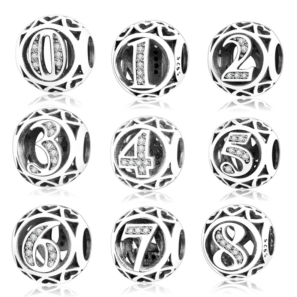 Authentic 925 Sterling Silver Bead Charm Number 0 to 9 Beads Fit Original Pandora Charms Bracelets & Bangles DIY Berloque 2018