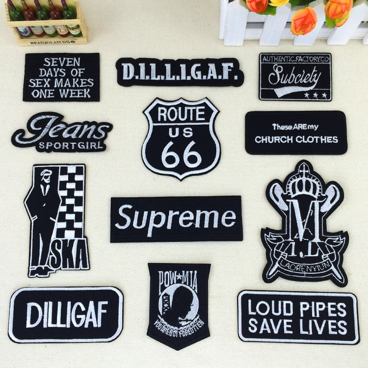 8b98c317ff9e Pack of 5 pcs Black Embroidered Cloth Badge Affixed Stickers Clothing Patch  T-shirt Jeans Jacket Badge Decorative