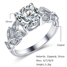 Wedding Crystal Silver Color Rings Leaf Engagement Gold Color Cubic Zircon Ring For Women